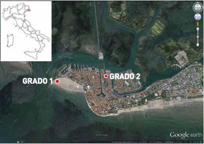 Fig. 1 - Ubicazione dei pozzi Grado1 e Grado 2 sull'isola di Grado